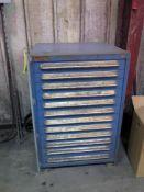 STORAGE CABINET, 12-drawer, w / drills, taps, dies & assorted carbide, misc.