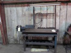 LOT CONSISTING OF: steel work table, 5' x 2', w/vise & fluorescent light fixture