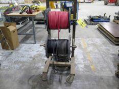 """HOSE REEL DISPENSER RACK, w / (3) reels of 1/4"""" hose, 250 & 500 psi"""