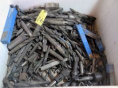 LOT CONSISTING OF: taper shank drills, reamers, sleeves, taps, w/pigeon hole cabinet