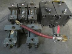 LOT CONSISTING OF: (7) assorted pneumatic flow meter & hydraulic cylinders