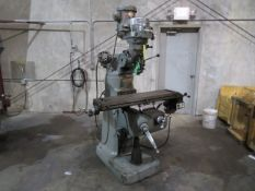 """VERTICAL TURRET MILL, BRIDGEPORT SERIES 1, 9"""" x 42"""" table, 2 HP motor, chrome ways, pwr. feed,"""