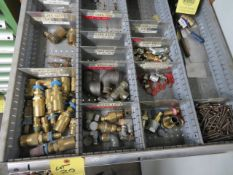 LOT CONSISTING OF: assorted air fittings, threaded plugs & caps (located in drawers 1 & 2 plus