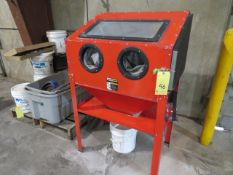 LOT CONSISTING OF: Central Pneumatic glove box blast cabinet & pallet of material & accessories