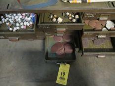 STORAGE CABINET, 12-drawer, w/sanding supplies