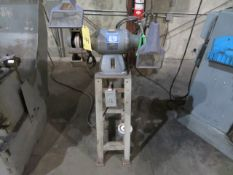 BENCH GRINDER, BALDOR, 1-1/2 HP motor, on fabricated stand