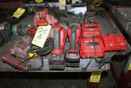 LOT CONSISTING OF: Milwaukee reciprocating saws, belt sander, rotary hammer drill, batteries &