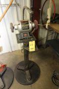 """PEDESTAL BENCH GRINDER, CRAFTSMAN 6"""", 1/3 HP motor, set-up for polishing"""