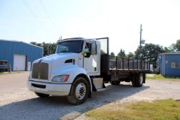 FLATBED TRUCK, 2012 KENWORTH, 26,000 lb. G.V.W.R., Perkins diesel engine, 24' diamond plate bed w/
