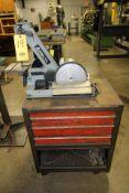 """COMBINATION BELT/DISC GRINDER, DELTA MDL. 31-340, 1"""" belt, 6"""" disc, w/Craftsman toolbox"""