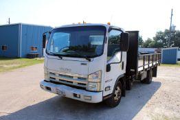 FLATBED TRUCK, 2012 ISUZU MDL. NPR-HD SUPER DUTY CAB OVER, auto. trans., 15-1/2' diamond plate bed