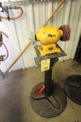 """PEDESTAL BENCH GRINDER, 6"""", set-up for polishing"""