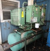 ROTARY SCREW AIR COMPRESSOR, SULLAIR MDL. 10B-25, 25 HP motor, 90 gal. horiz. receiver, tank mtd.,