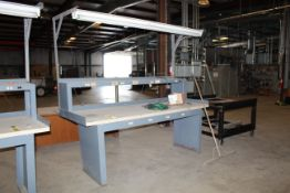 """ELECTRIFIED WORKBENCH, 3' dp. x 8'W., laminated top, 15"""" dp. accessory shelf, w/light (Located at:"""