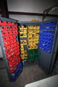 PARTS STORAGE CABINET, w/multiple plastic bins, w/contents (Located at: Accurate, Inc., 1200 East