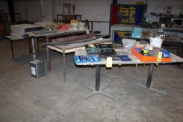 LOT OF TABLES (3), w/plastic bookshelves & legs, warning flags, etc. (Located at: Accurate, Inc.,