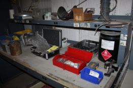 LOT CONSISTING OF: misc. parts, nuts, bolts, tool kit, toolboxes (located on top & underneath