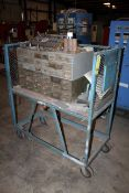 ROLLING WORK CART, w/Pidgeon hole cabinet & assorted collets, drill bits & other accessories (