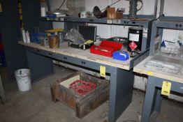 "ELECTRIFIED WORKBENCH, 3' x 8' table top, 15"" x 8' accessory shelf, metal w/wood main top (Located"