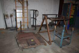 LOT CONSISTING OF: metal scrap (on one pallet), bottle racks, rolling scaffolding, metal dispenser