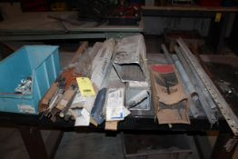 LOT CONSISTING OF: assorted welding rod, plastic bin w/nuts & bolts, pipe, angle iron (located on