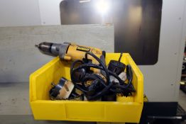 """LOT CONSISTING OF: Dewalt Mdl. DW236 electric drill, hole saws, Craftsman 7"""" grinder, 5/16"""" tubing"""