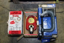 """LOT CONSISTING OF: (5) Wilton 4"""" C-clamps & (4) Crosby Mdl. HR-1000 swivel hoist rings - 3/4-10 5,"""