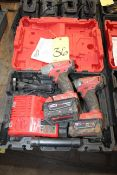 CORDLESS IMPACT DRIVER, MILWAUKEE M18, battery pwrd., red lithium XC 5.0, w/charger & (2) batteries