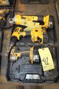 LOT CONSISTING OF: Dewalt 18V impact driver, Dewalt 20V drill, Dewalt 18V right angle grinder w/