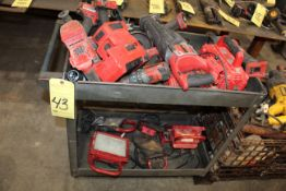 LOT OF MISC. BATTERY POWERED TOOLS: grinders, drills, impacts, lights