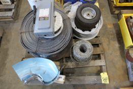 LOT CONSISTING OF: conveyor belt & trailer wheel