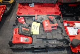 CORDLESS ROTARY HAMMER DRILL, MILWAUKEE M18, battery pwrd. SDS plus, w/charger