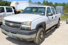 PICKUP TRUCK, 2005 CHEVROLET MDL. 2500HD, quad cab, Odo. reads: 168,073 miles, TX License Plate