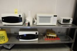 LOT CONSISTING OF: (3) microwaves & toaster oven (bench not included)