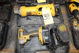 LOT CONSISTING OF: Dewalt 18V battery pwrd. impact driver & Dewalt 18V battery pwrd. right angle