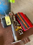 LOT OF MISC. TRAILER COMPONENTS, TONGUE JACK, TRAILER HITCH, SAFETY REFLECTORS