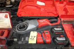 PORTABLE PIPE THREADER SET, MILWAUKEE, Mdl. M18 fuel, charger, (2) batteries, Catalog No. 2874-20