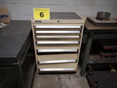 KENNEDY, 7 DRAWER, METAL STORAGE CABINET WITH CONTENTS (BOTTOM TWO DRAWERS REQUIRE REPAIR)