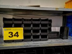 LOT OF SMALL BLACK ESD STACKING STORAGE BINS