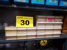 LOT OF BENCHTOP BEIGE PLASTIC STORAGE BINS