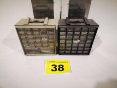 LOT OF (2) BENCHTOP, MULTI-DRAWER, STORAGE BINS WITH ASSORTED HARDWARE