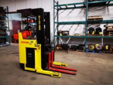 """HYSTER, N40XMR2, 3750 LBS., BATTERY POWERED REACH TRUCK, 3 STAGE MAST, 212"""" MAX LIFT, 42"""" FORKS,"""
