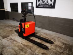 BT LEVIO PRODUCTS, P20-8, 4400 LBS., BATTERY POWERED RIDE ON PALLET TRUCK, SOLID CUSHION TIRES,