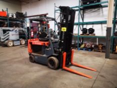 """TOYOTA, 7FVCU30, 3300 LBS, BATTERY POWERED, FORKLIFT, 3 STAGE MAST, 218"""" MAX LIFT, CARTON CLAMP"""