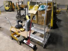 LOT: 30 in. Rolling Safety Stairway with Magnetic Sweeper, Floor Striper & Assorted New Hard Hats