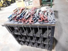 LOT: Assorted Shears, Band Busters & Tools on Rolling Steel Cart