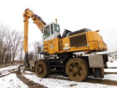 2004 Liebherr Elevated Cab Solid Tire Material Handler Model A954B, S/N WLHZ0714AZK020787