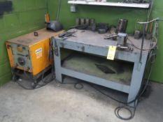 LOT: Airco 250 Amp Welder, Cables, TIG Torch, with 32 in. x 54 in. Heavy Duty Welding Table with