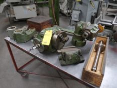 LOT: Assorted Attachments for Van Norman Mill including 8 in. Vise, 90 Degree Heads, Portable Work