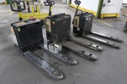 LOT: (3) Crown 4500 lb. Walk-Behind Forklifts, (1) 24 Volt Charger (all need battery/repair),